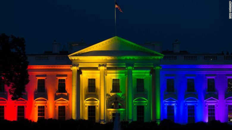 The White House lit up to celebrate the SCOTUS decision. Photo: CNN