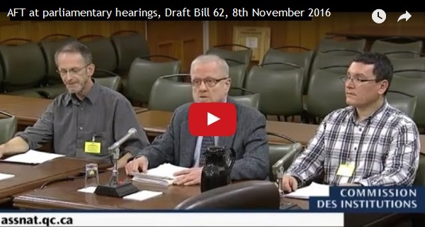 AFT at parliamentary hearings, Draft Bill 62, 8th November 2016
